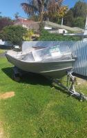 Lightweight 12 ft 6 welded aluminium hull. New wof and reg.