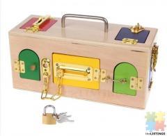 Montessori wooden busy box