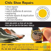 Shoe repairs, key cutting, watch services, engraving,sharpening