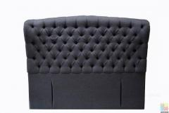 Brand New Queen Size Fabric Headboard in Thick Fabric with Buttons, Charcoal and Black