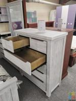 Brand New Wash White Acacia Wood Tallboy --- Gloria