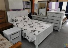 Brand New Queen Size Bedroom Suite 6 PCS , White Wash, Acacia Wood --- Gloria