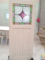 NATIVE TIMBER DOOR AND NEW STAINED GLASS