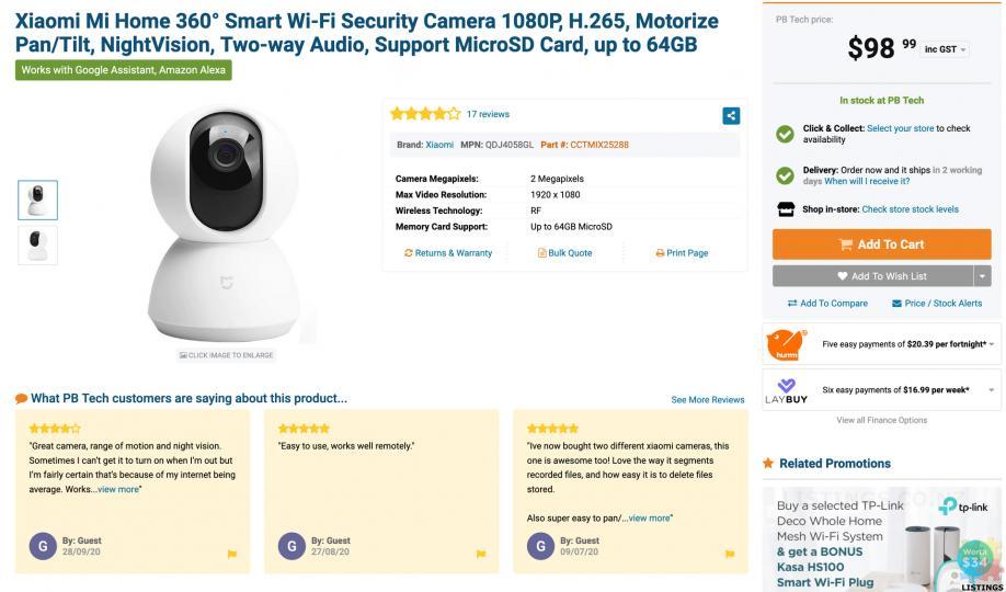 Xiaomi MJSXJ02CM Mi Home Security Camera 360°, 1080P, White. RRP$99 - 5/5
