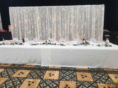 Chair cover Chair Sashes Table cloth Table runner backdrop center peice stage decoration for hire