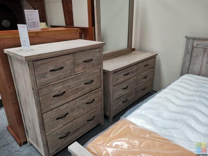 Brand New Queen Bedroom Suite 6pcs, Whitewash Bedroom Furniture Nz