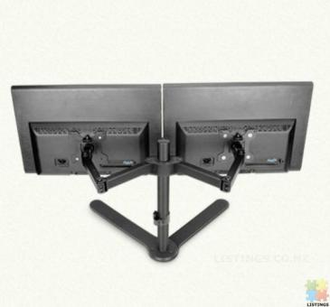 Universal Dual LCD Monitor Fully Adjustable Desk Mount Fits 2 Screens up to 27 inch