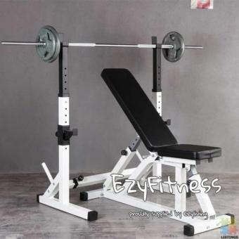 Squat Rack + Foldabele Bench (EZ058+053) Home Gym Combo