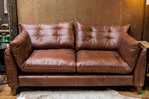 Tobias 2 Seater Brown Leather Sofa
