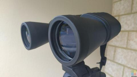 Binoculars and tripod