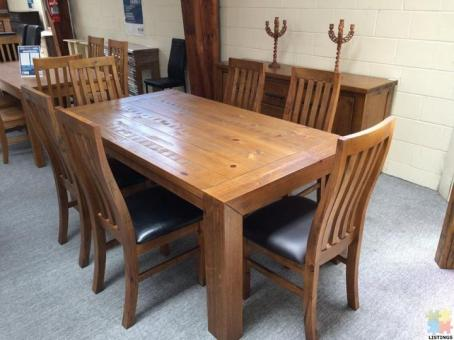 Brand New Dining Suite 7PCS: 1x 1.8m Table & 6x Chairs - Woodlock