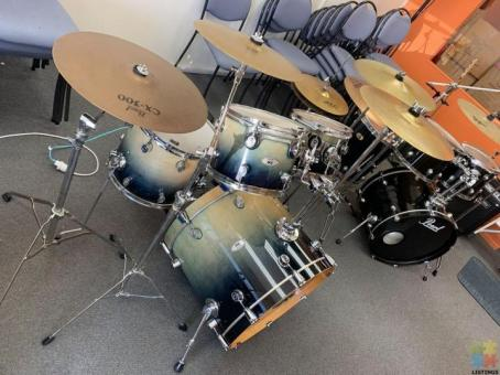 PDP M5 Series Maple Drum Shell and cymbals