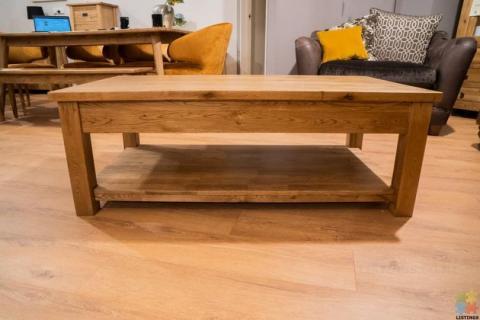 Oak Coffee Table 2 Drawer