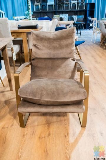 Sienna Chair & Ottoman Fabric Espresso - 1/2