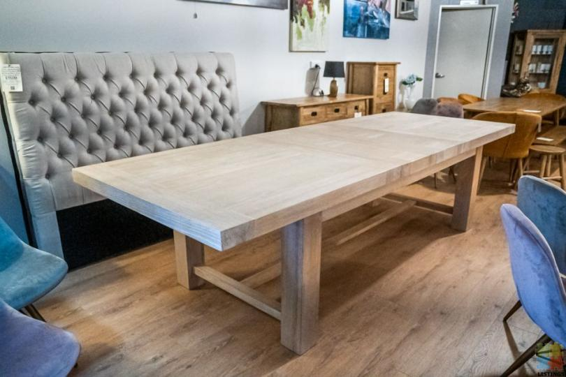 Oak Extension Table 2.8m White Washed Dining Table - 1/1