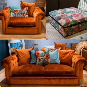 Urbano Botanist Lounge Suite x 3 Pieces - Midi Sofa, Snuggler Chair & Footstool