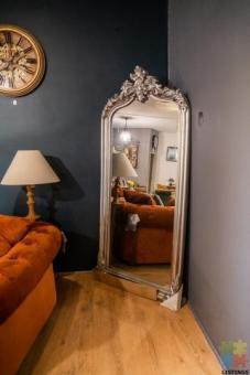 Antique Silver Ornate Mirror Garden-Style