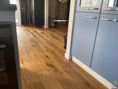 Long plank castle real oak flooring, supply with free delivery. Fitting TBA.