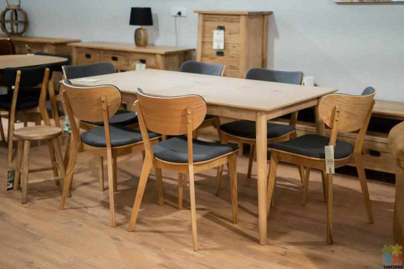 Hansen Extension Dining Table 1.6M-2.1M & 6 x Oak Dining Chairs - 1/1
