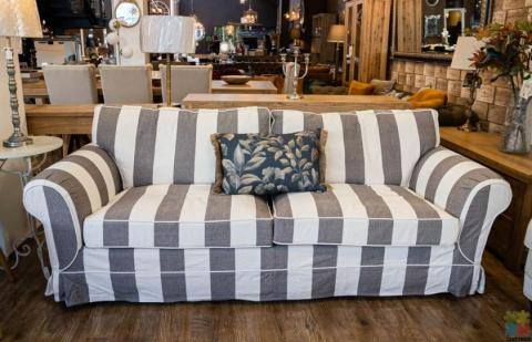 Delray 3 Seater Sofa Striped Dark Grey