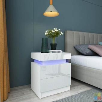 Brand new RGB LED light bedside table (high gloss) Black and White are available