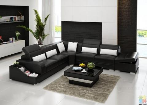 Brand New Genuine Leather Corner Lounge Suite with Moveable Storage Ottoman