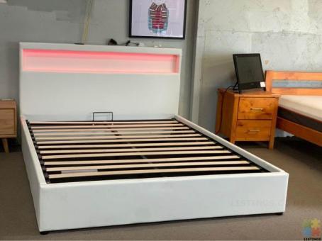 *Sue-e Furniture*Brand New PU leather RGB Lighting Bedframe