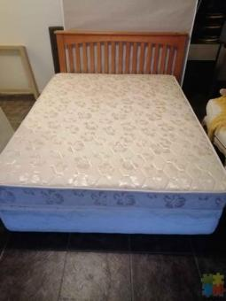 Queen size mattress and base and headboard