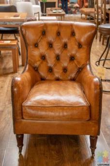 Bordeaux Arm Chair - Antique Light Brown Leather