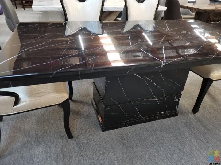 Brand New Black with White Root Marble Dining Table 1.8M - 1/2