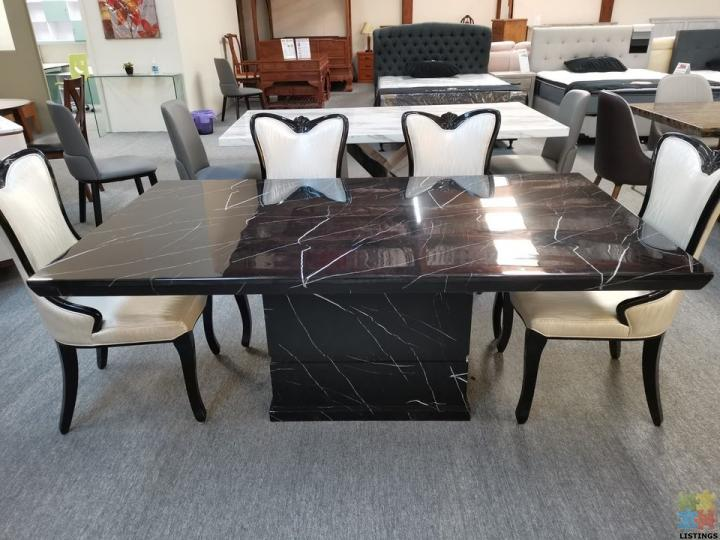 Brand New Black with White Root Marble Dining Table 1.8M - 2/2