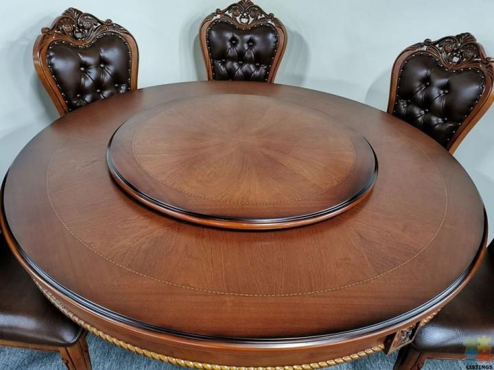 Brand New 7pcs Dining Suite 1.5m Round Table with 6 x Chairs - Oak 882# - 1/2