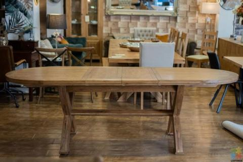 Oak Oval Extension Dining Table with Crossed legs