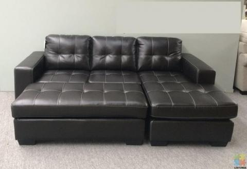Brand New Leather Corner Lounge Suite with Ottoman Optional Sofa Bed