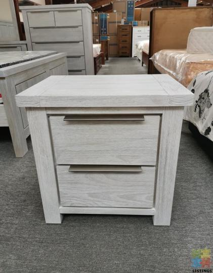 Brand New Bedside Table Grey White Washed Solid Wooden - 1/2