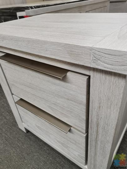 Brand New Bedside Table Grey White Washed Solid Wooden - 2/2