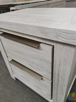 Brand New Bedside Table Grey White Washed Solid Wooden