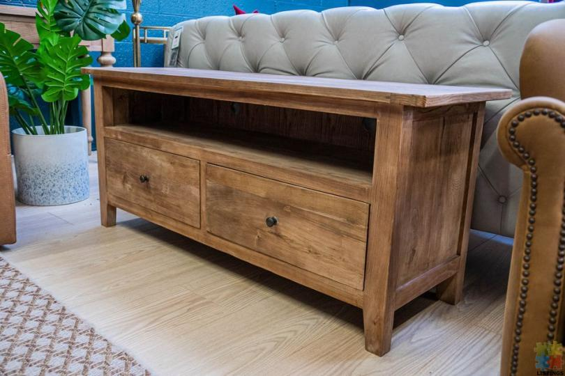 TV Unit Reclaimed Elm With 2 Drawer - 1/1