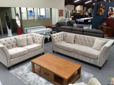 Brand New Lounge Suite 2+3 Seater Fabric Tufted with Studs